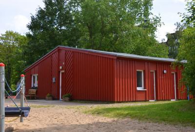 Das Spielhaus des Beutreuten Spielplatzes Gutenbergstra?e.